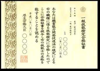 1級築炉技能士 技能検定合格証書(見本)